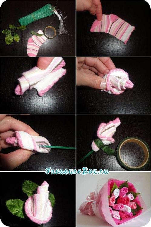 Розы из носков