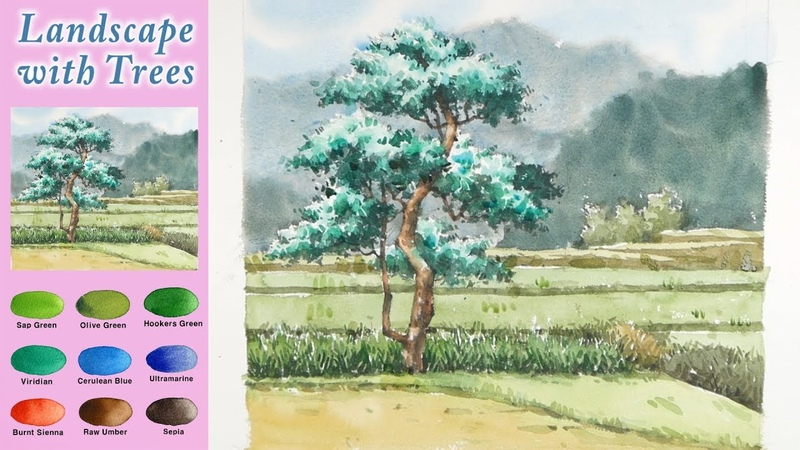 Basic watercolor - Landscape with trees (Arches rough, wet-in-wet, wet-on-dry) NAMIL ART