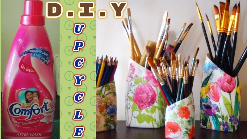 DIY Upcycle Decoupage Mod Podge Detergent Fabric Softener Plastic Bottes with Tissue Paper Napkin
