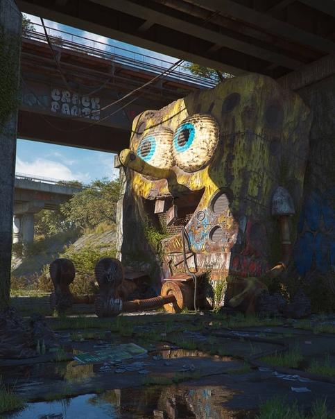 «Антиутопия поп-культуры» Чешский цифровой художник Филип Ходас представил серию работ апокалиптичного будущего, в котором иконы поп-культуры 80-90х годов от тетриса и пакмена, до Микки Мауса и