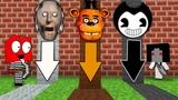 Какую Яму в Майнкрафт Желейный Мишка и Слендерина выберет Гренни, Фредди, Бенди и нуб майнкрафт