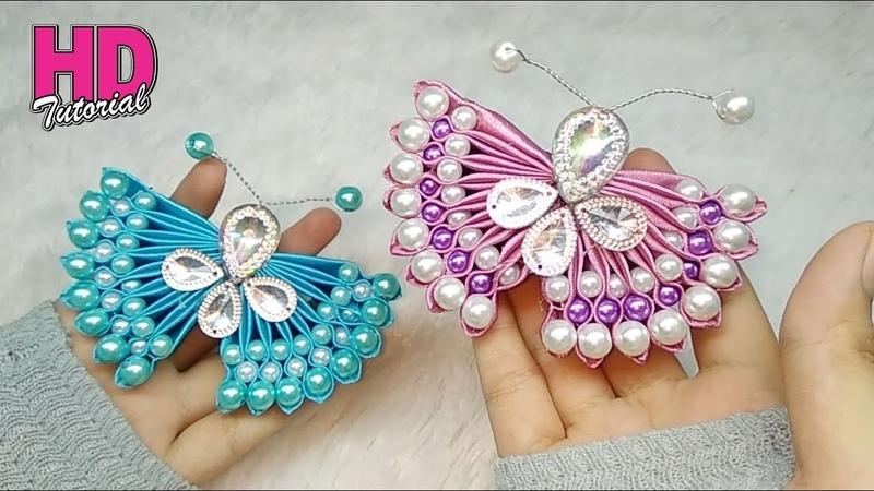 DIY - Handmade Butterfly || Bros kupu-kupu || how to make satin ribbon flower || HD TUTORIAL