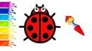 Learn colors coloring drawing Ladybug Учим Цвета Рисуем Раскраска Божья Коровка