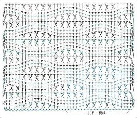 Рельефный узор крючком схема фото 462
