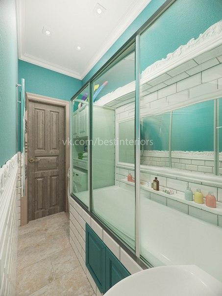 Бирюзовый цвет в дизайне интерьера ванной комнаты нестандартной планировки… (3 фото) - картинка