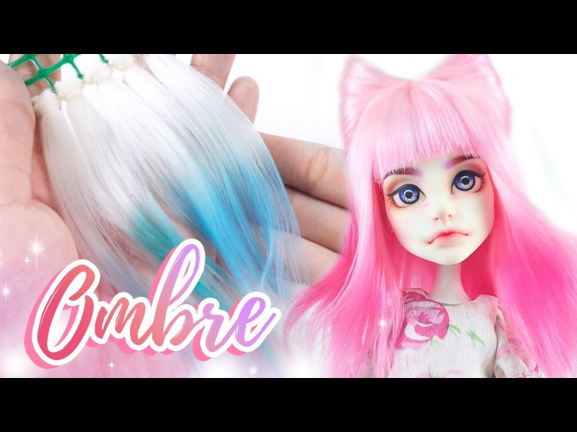 How to Make a Doll Wig | Ombre Wefts (2 WAYS!) Kitty Ears Hairstyle Wig | Mozekyto 12