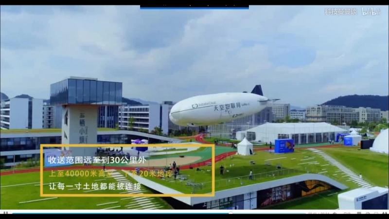 демонстрация шлюза LoRa (Alibaba Cloud), расположенного на беспилотном дирижабле Sky Internet of Things - копия LMH-1 в масштабе