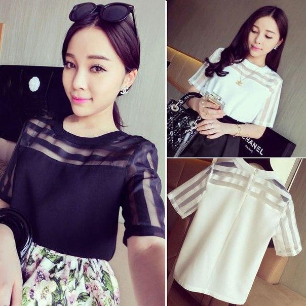 Мода 2015 новый свободного покроя органза блузки для девочек лето шифон руб