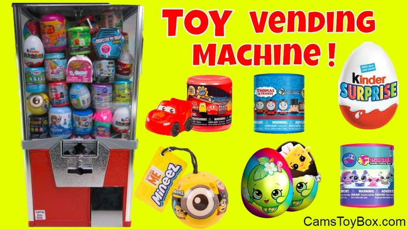 Toy Vending Machine Surprises Kinder Egg Minions Mineez Shopkins Cars 3 LPS Fashems Mashems Toys