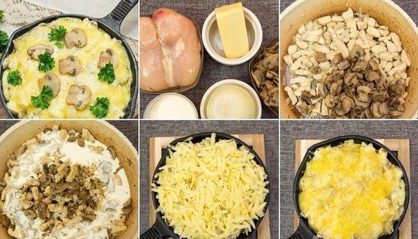 Рецепт из курицы с грибами на сковороде рецепт с пошагово