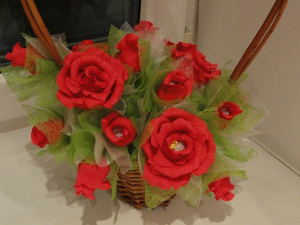 Букет роз из конфет своими руками для
