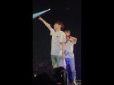 Yoonjin moment. Jin was copying suga and then Jin was very passionate at swaying with the fans