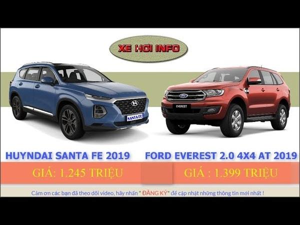 So sánh Huyndai Santa fe Diesel Premium 2019 VS Ford Everest 2 0 Bi Turbo 4x4AT 2019