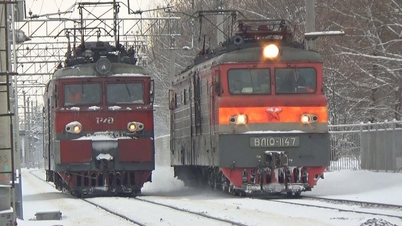 Электровоз ВЛ11М-349 и электровоз ВЛ10-1147, станция Люберцы 1