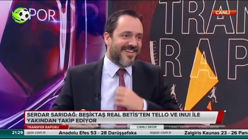Beşiktaş Transfer Raporu Cristian Tello ve Inui Serdar Sarıdağ Ali Baransel