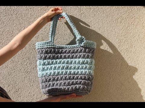 Torebka na szydełku ze sznurka ścieg Gwiazdka / beach bag on crochet
