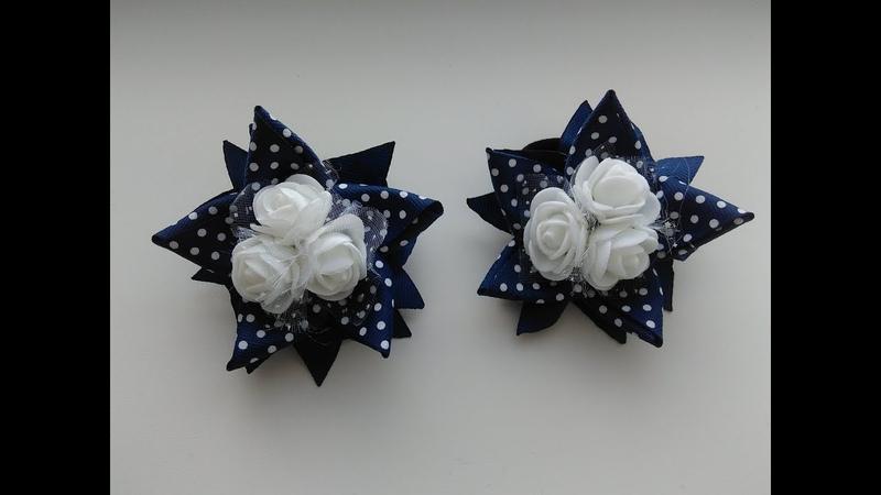 Легкие бантики звездочки из репсовых лент МК Канзаши / Light bows stars of REP ribbons Kanzashi MK