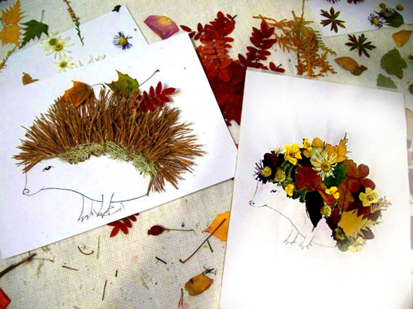 Поделки из сухих листьев и цветов руками детей8