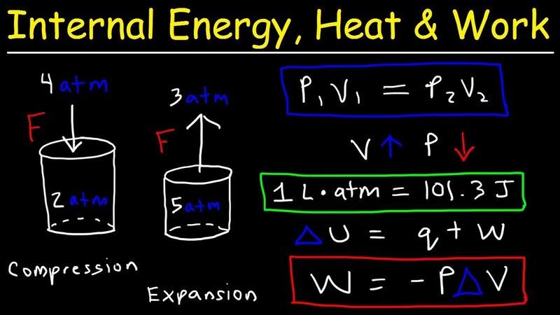 Internal Energy, Heat, and Work Thermodynamics, Pressure Volume, Chemistry Problems