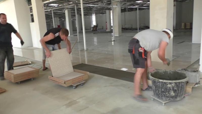 Скоростная укладка плитки. 100кв.м. в час!) High-speed tiling. 100sq.m. per hour!)