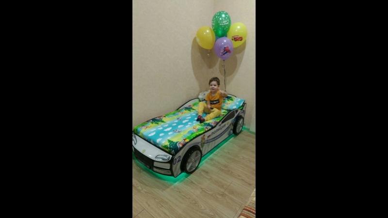 Кроватка-машинка Турбо Полиция с подъемным матрасом