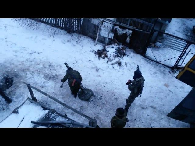 Горловка работа миномета ДНР Ukraine Horlivka mortar work