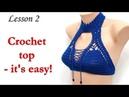 Crop Top Crochet Bikini DIY Lesson 2 Top cup bra КРОП Топ крючком Урок 2 чашка