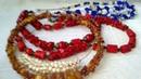 Переделка бус . Коралл, янтарь, жемчуг, кошачий глаз Jewellery made of natural stones. Necklaces