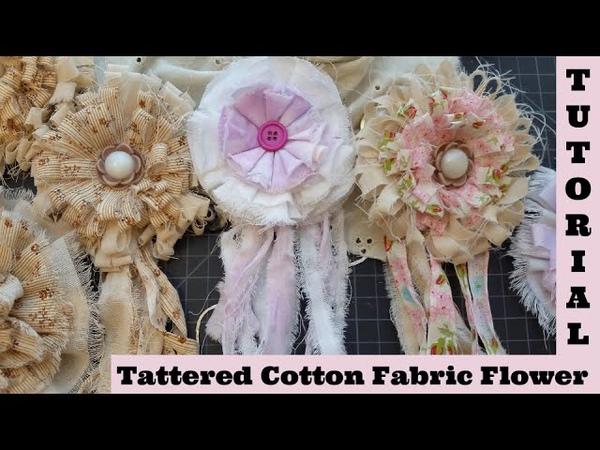 Cotton Fabric Flower Diy 1, Tattered rag Flower, no sew, Shabby Chic, Boho Flower.