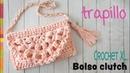 Bolso o cartera clutch tejido en crochet XL con trapillo Tejiendo Perú
