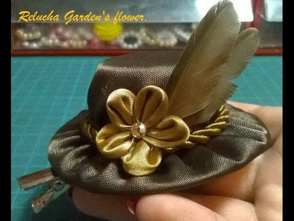 Kanzashi 92 - Flor Tecido Cetim em pequeno chapéu vintage - Small vintage Hat ! - DIY / サテン花 / 簪