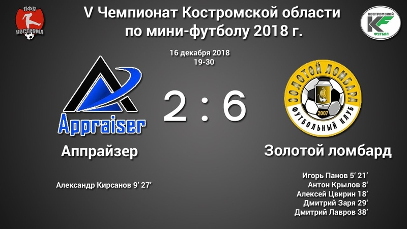 Аппрайзер - Золотой ломбард 2:6 V Чемпионат Костромской области по мини-футболу (16.12.18)