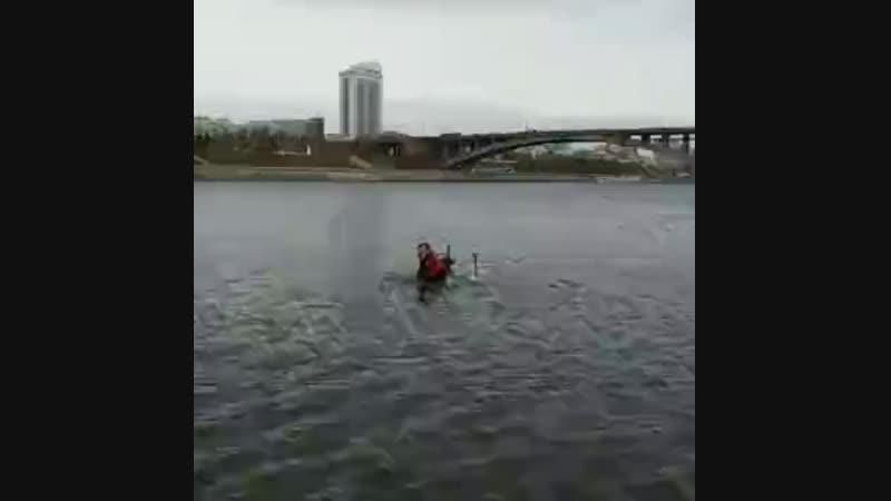 В Красноярске на зиму законсервировали речные фонтаны