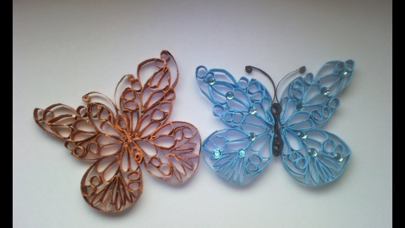 Mariposa hecha con tubos de papel higienico, butterfly made of paper tubes