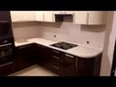 Кухня фасады акрил коричневый низ бежевый верх