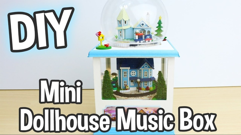 DIY Miniature Dollhouse Music Box Kit that Spins and has Working Lights! Cute! Relaxing Craft