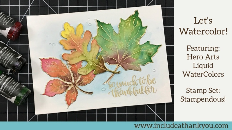 Water Color Fall Leaves | featuring Hero Arts Liquid Water Colors | Stampendous Stamps Dies