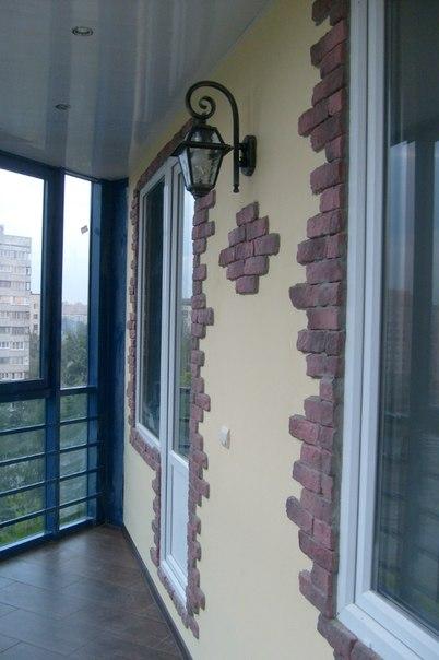 Внутренняя отделка балконов фото исскуственным камнем..