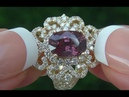 GIA Certified VVS No Heat Pink Sapphire Diamond 18k Yellow Gold Engagement Cocktail Ring C564