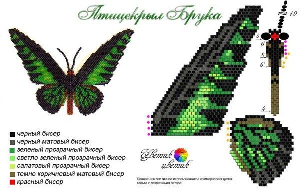 Бабочки из бисера. Схемы!