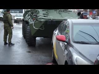 БТР попали в массовое ДТП в центре Курска