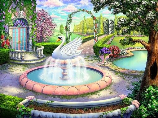 """Близнецы - Схема вышивки  """"лебединый фонтан """" - Схемы вышивки - mikaela - Авторы - Портал  """"Вышивка крестом """" ."""