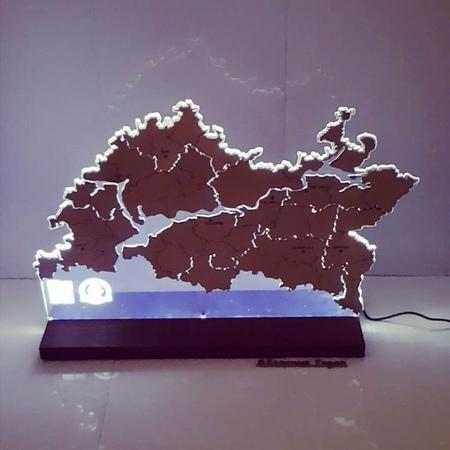 "Кубки медали награды награда on Instagram: ""Map of the Republic of Tatarstan. Карта Республики Татарстан. • Материал оргстекло (акрил), фанера, led..."