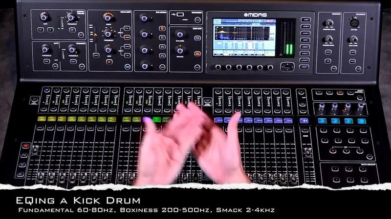 Midas M32 Building a Rough Mix EQing Drums