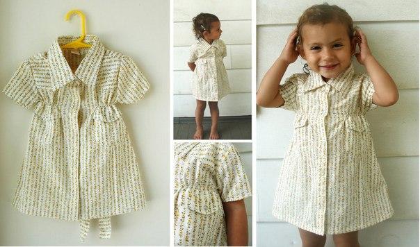 Детское платьице из папиной рубашки (6 фото)