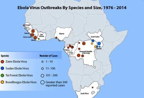 Иллюстрация вируса Эбола и африканских регионов, где Эбола была обнаружена вместе с текущей вспышкой