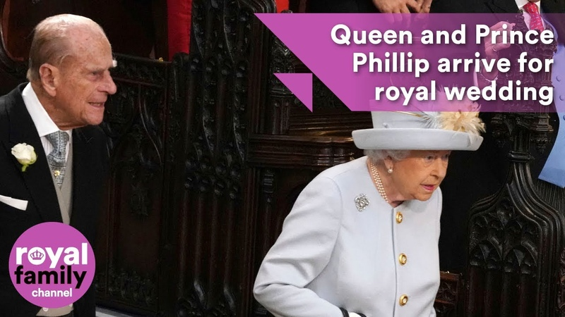 Queen and Prince Phillip arrive for Princess Eugenie's royal wedding