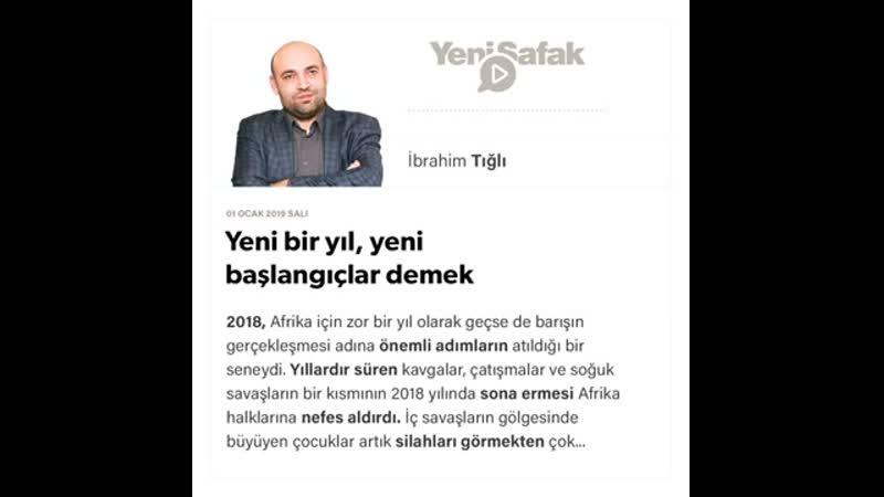 İbrahim Tığlı Yeni bir yıl yeni başlangıçlar demek 01 01 2019
