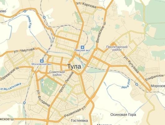 Яндекс обновил схему Тулы