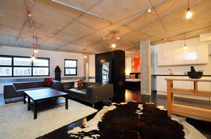 Дизайн студии 90 м в промышленном стиле в Лондоне / Великобритания - http://kvartirastudio.